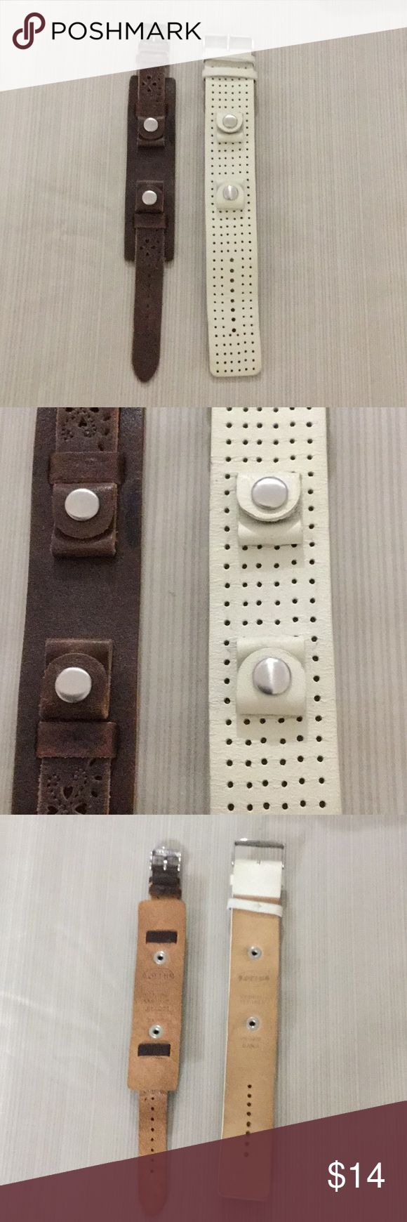 """Fossil Leather Watch Bands The brown band is new and the white band has some wear.  Brown band 1 1/4"""" at the widest point.  White band is 1 1/4"""" wide. Fossil Accessories"""