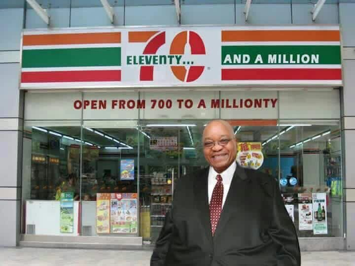 South Africa's president, Jacob Zuma being made fun of for his inability to say numbers/figures