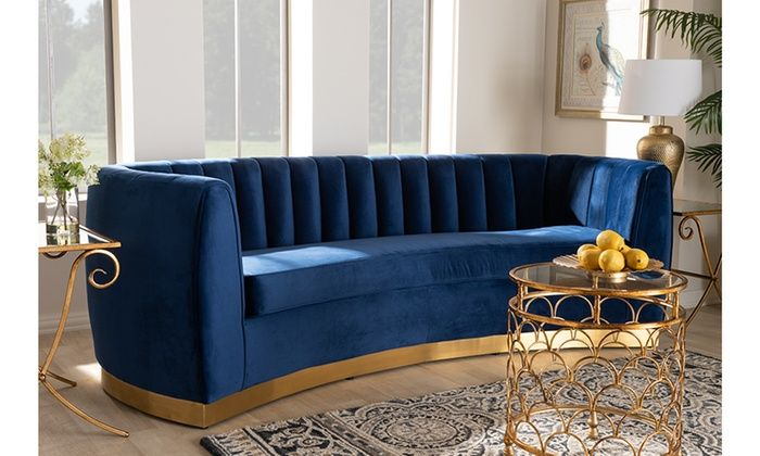 Milena Glam Royal Blue Velvet Fabric Upholstered Gold Finished Sofa Blue Velvet Fabric Glam Sofas Upholstered Sofa