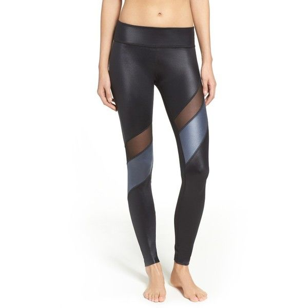 Women's Beyond Yoga Glossy Waves Leggings ($110) ❤ liked on Polyvore featuring pants, leggings, black gloss, mesh inset leggings, wetlook leggings, legging pants, beyond yoga and wet look pants