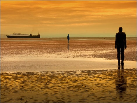 Antony Gormley 'Another Place'. Crosby Beach, Merseyside, England