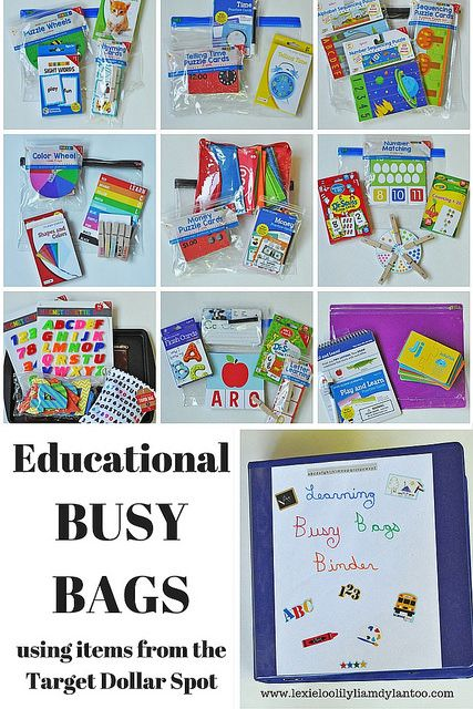 10 Educational Busy Bags using items from the Target Dollar Spot
