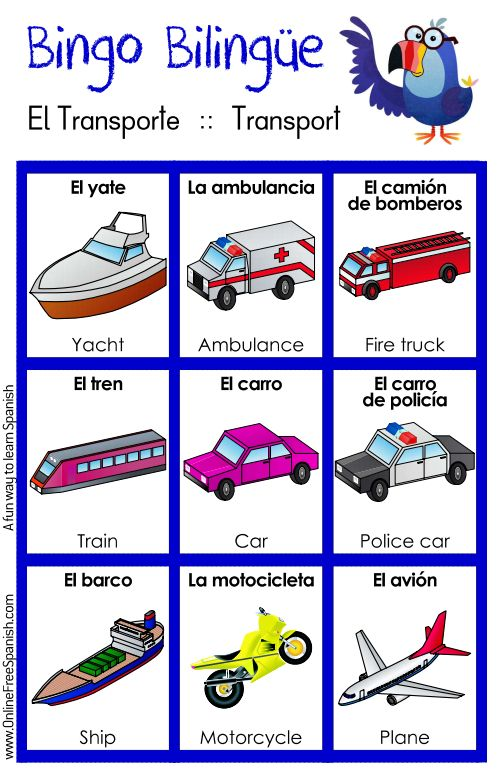 El transporte - transport -  http://www.onlinefreespanish.com/aplica/lessons/bingos/bingoTransport.pdf