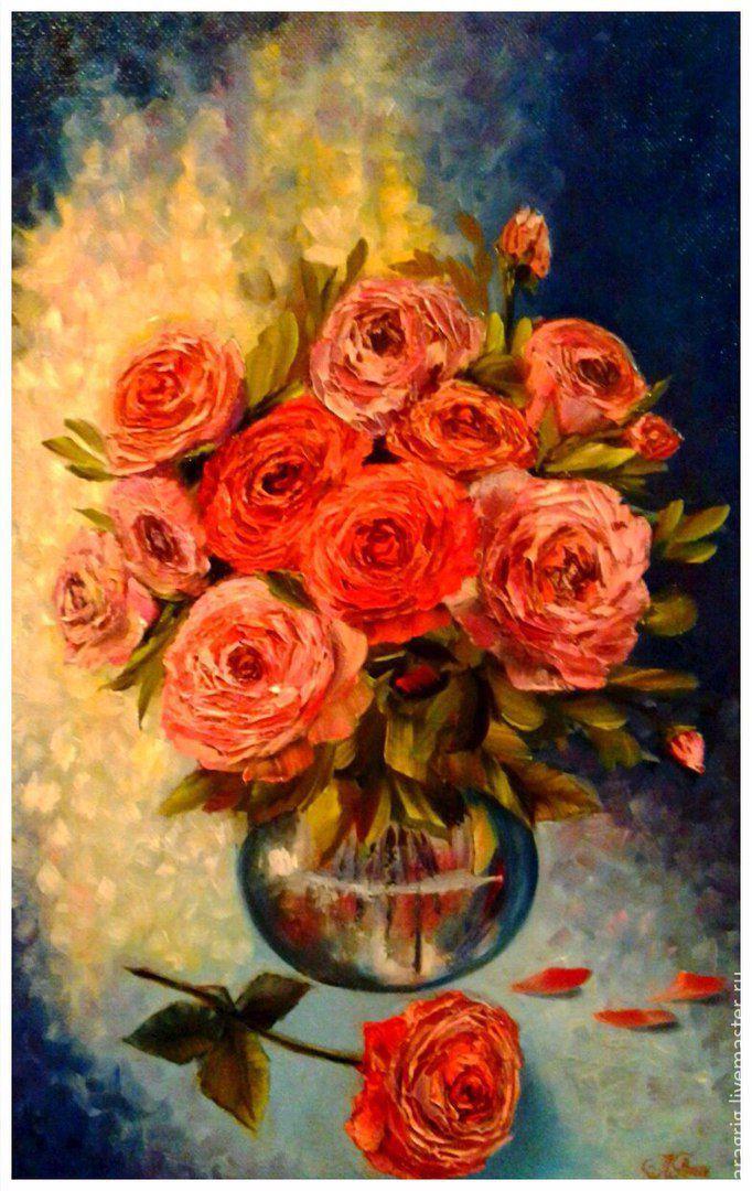 """Купить """"Букет другу"""" - художник Лариса Григ - ярко-красный, розы, букет, цветы"""
