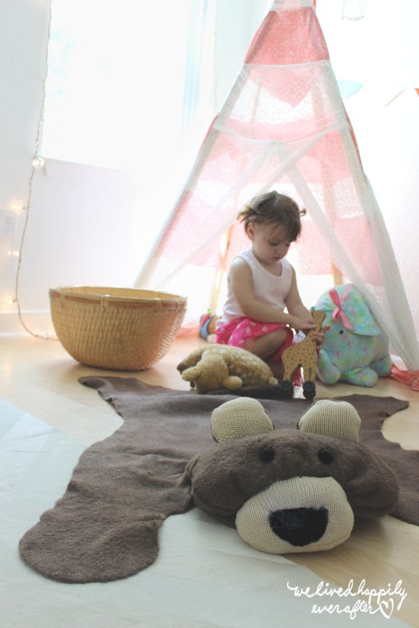 DIY Faux Bear Skin Rug
