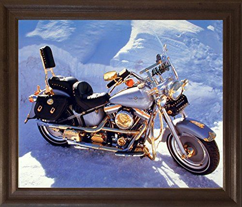 This Harley Davidson vintage motorcycle art print framed poster will help to bring a nice change your living room or entryway which enhance your décor and add a style to your home. This framed poster depicts the image of Harley Davidson vintage art print poster which is sure to bring you many compliments from your guests and grabs lot of attention. Its wooden brown rust frame accentuates the poster mild tone. The frame is made from solid wood measuring 19x23 inches with a smooth gesso…