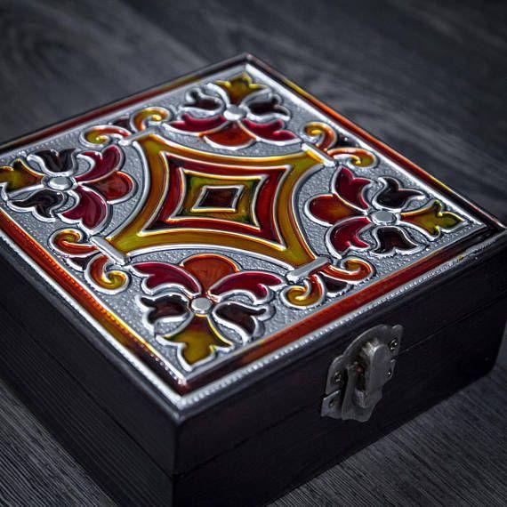 Caja de joyería de madera/decoradas realzado/caja