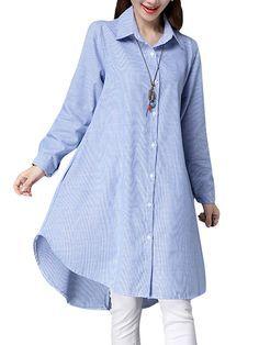 Las mujeres ocasionales de rayas de manga larga camisa de vestir sueltas