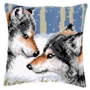 001. Набор для вышивания подушки Vervaco  Два волка.Вервако PN-0021844