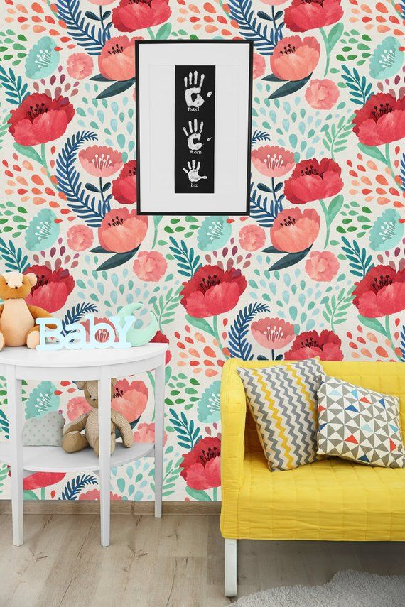 Red Poppy Flowers Removable Wallpaper Peel And Stick Etsy Removable Wallpaper Poppy Flower Wall Wallpaper