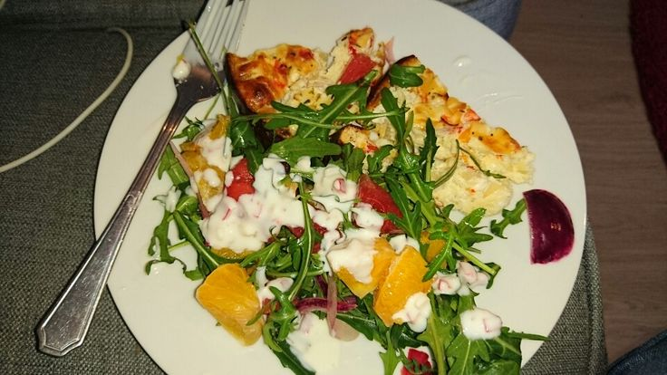 Free Food February, Crustless Quiche with Orange and Watermelon salad dressed with spicy dressing.