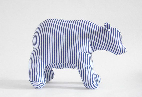 Polar Bear stuffed striped blue and white handmade by giggletree
