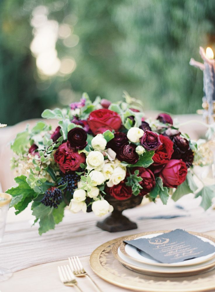 Deep Red Bouquet | Photography: Kurt Boomer Photo - www.kurtboomer.com Read More: http://www.stylemepretty.com/2015/01/29/moody-romantic-outdoor-wedding-inspiration/