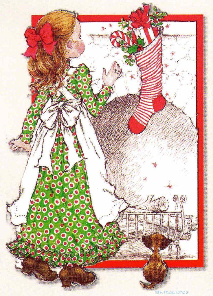 Bota de navidad, con borde rojo - Sarah Kay