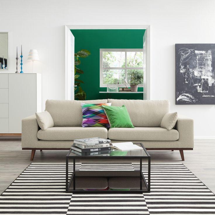 Sofa Billund (2 Sitzer) Webstoff   Warmes Beige