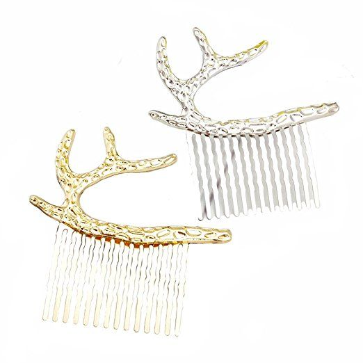 AmazonSmile : 2PCS Metal Hair Clips Imitate Deadwood Antlers Hairpin and Elk Horn Antler Stag Side Hair Pin Clip Cuff Claw Comb Hair Clip Pin Claw Barrettes Accessories for Women Girl Hair Clip (Hairpin-A) : Beauty