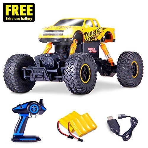 Electric RC Cars Built with LED Headlights - Offroad Remote Control Car RTR RC Buggy RC Monster Truck - Holitoy for Kids