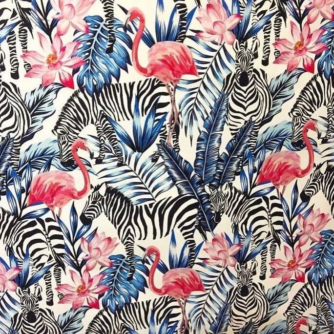 Zebra Ve Flamingo Dijital Baskı kumaş isimli ürünümüzü sitemizden satın alabilirsiniz.En 140 cm metresi 30 Çanta  minder  Kırlent  koltuk döşemesi  fon perde olarak kullanılır. #intaslar #kumaş #dijitalbaskılıkumaş #çanta #koltukdöşemesi #fonperde #minder #kırlent