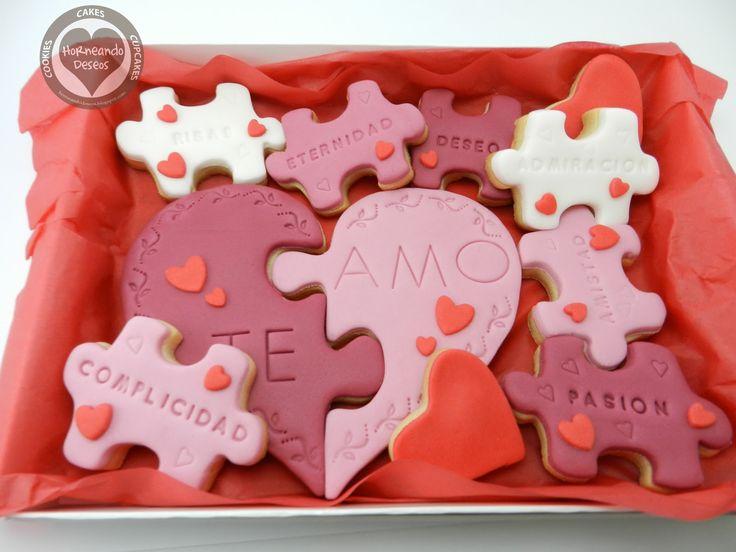 horneando deseos: Galletas puzzle para San Valentín