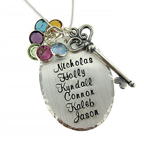 Grandma Necklace with Names and Birthstones - Love this unique key design!