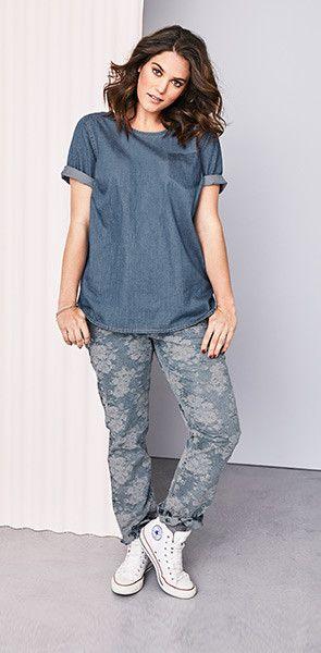 Stretch Jeans | Blumen | sheego denim