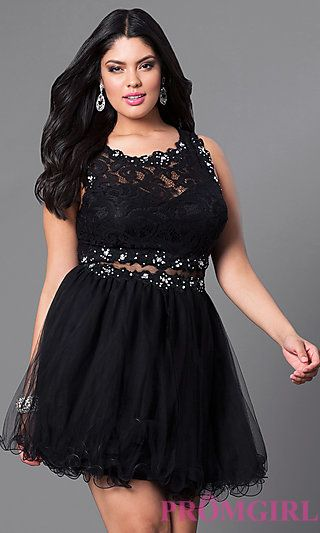 Mock Two Piece Plus-Size Homecoming Dress at PromGirl.com