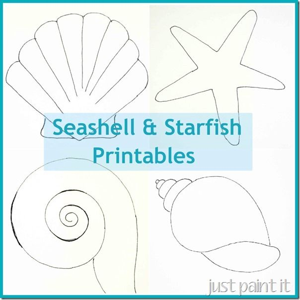 Seashell and Starfish Printables for painting, coloring, embroidery, appliques and fun!
