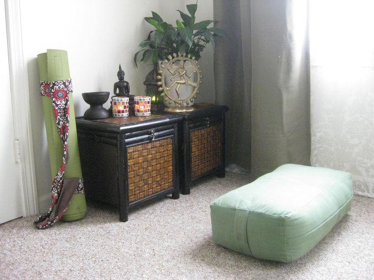 yoga/meditation corner - like the cabinets
