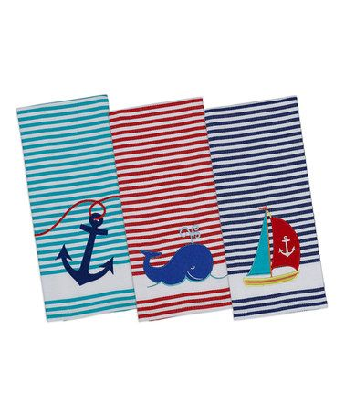 Love this Anchor Away Embellished Dish Towel Set by Design Imports on #zulily! #zulilyfinds