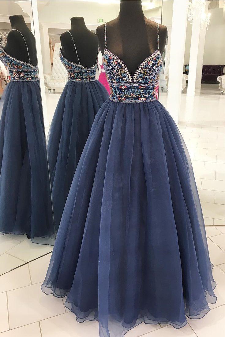 Unique Long Prom Dress, 2018 Prom Dress, Straps Navy Blue Long Prom Dress, Prom Dress with Colorful Beads