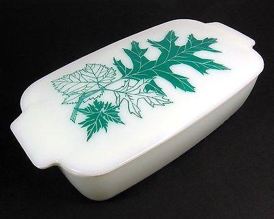Pyrex Rare Leaf Pattern Lidded Loaf Pan 505B & 505C