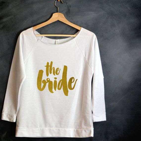 Bride 3/4 Sleeve Off-the-Shoulder Shirt Bride by HelloHandpressed