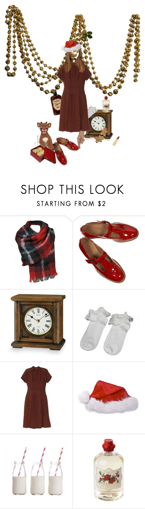"""""""waiting under the mistletoe // I'm back!"""" by florturello ❤ liked on Polyvore featuring Seiko, Dress My Cupcake, Soap & Paper Factory, Kate Spade, vintage, Christmas and red"""
