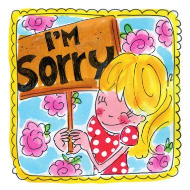 """Meisje met een """"sorry"""" bord en roze bloemen"""