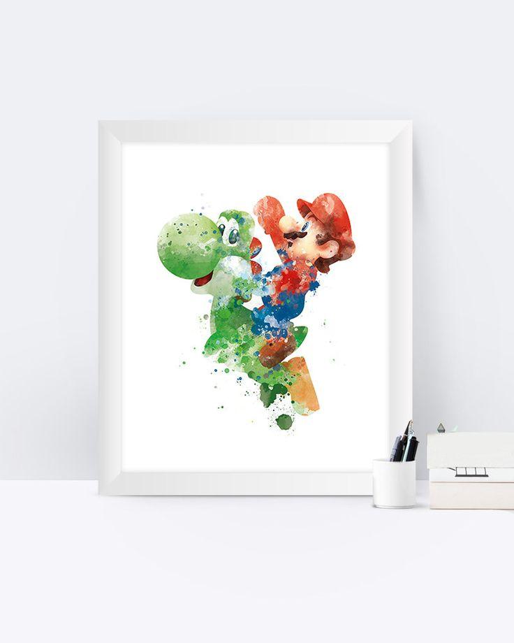 Super Mario Art Print, Games, Super Mario Bros, Yoshi, Video Game, Playstation, Xbox, Gaming, Printable, Wall Art, Home Decor, Gift by sPRINNT on Etsy