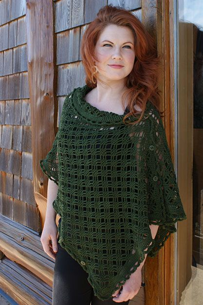 "Free pattern for ""Crocheted Easy Rapper""...can be worn as a Poncho, Shrug or Cardigan!"