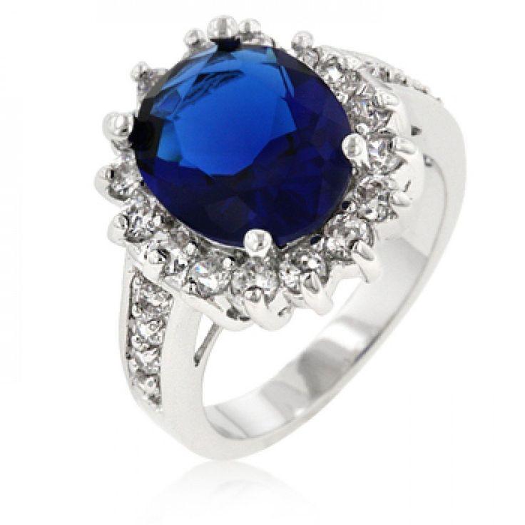 Eleganter Verlobungs Ring 'Prinzessin Diana' mit CZ Saphir und Zirkonia Diamanten