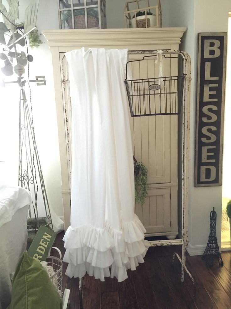 X Rows >> White Ruffled Shower Curtain with Rows of Tattered Ruffles | Shower Curtains | Farmhouse Decor ...