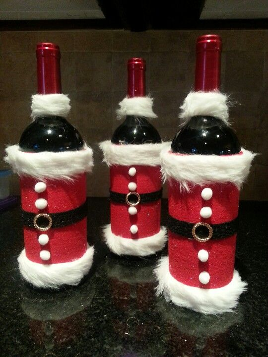 Christmas santa wine bottle craft...There is no link- but should be easy to figure out.