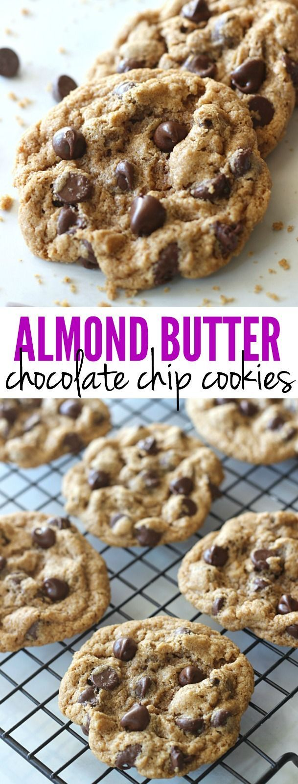 These Almond Butter Chocolate Chip Cookies are made with no flour, oil, or butter. They are perfectly chewy, full of chocolate, and downright addicting!: