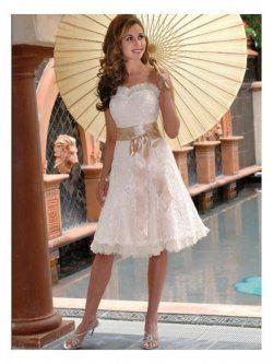 fullt broderat spets kort bröllop klänningar te längd