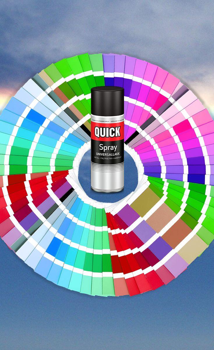 Universallakk på spray gjør det enkelt å fornye ting av metall, hardplast og tre. Som du ser på bildet, finnes den i mange flotte farger - valget er ditt. :) #quickbengalack #diy #bengalack #interiør