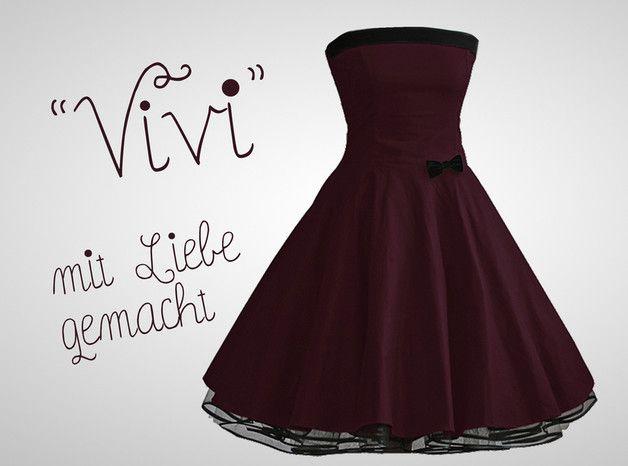 Entdecke lässige und festliche Kleider: Petticoat Kleid Bordeaux 50er Jahre made by Miss Bobby - Handgemachte Kleidung und Accessoires via DaWanda.com