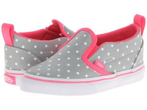 Vans Kids Slip-On V (Toddler) (Polka Dots) High Rise/Neon Pink - 6pm.com