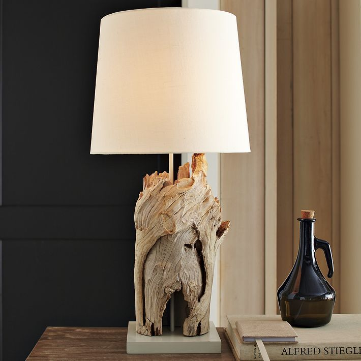Tall driftwood table lamp