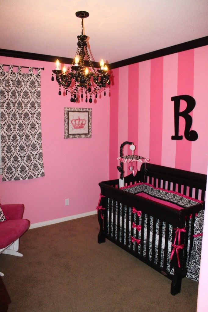 hot pink stripes black damask create a chic nursery - Black And Pink Bedroom Ideas