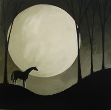 """ORIGINAL PAINTING """"Watching"""" Debbie Mama Criswell black horse moon landscape"""