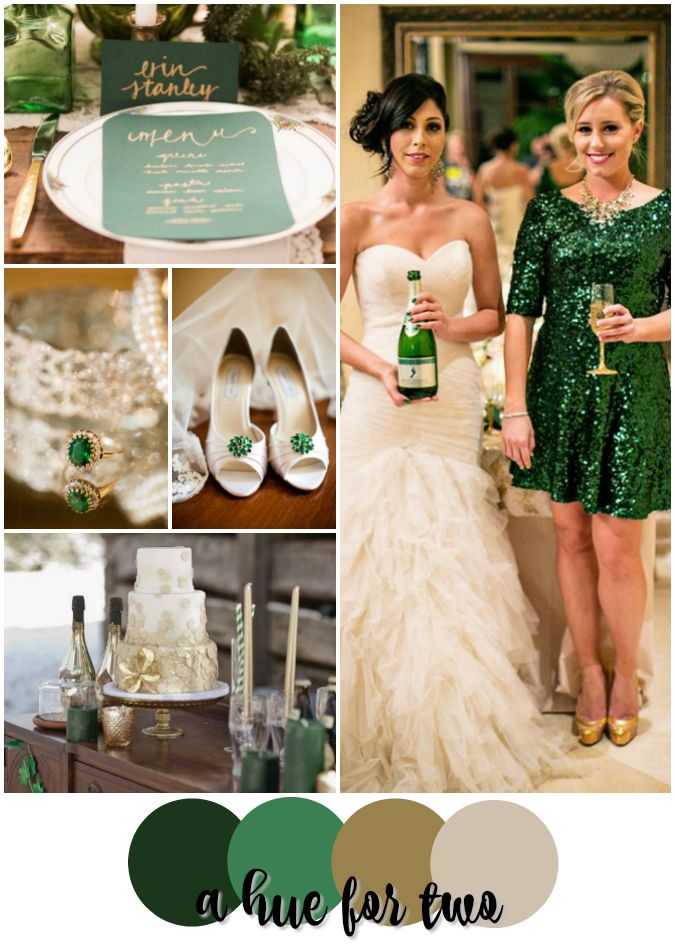 Emerald Green, Gold & Champagne St. Patrick's Day Wedding Colour Scheme - Wedding Theme - A Hue For Two | www.ahuefortwo.com