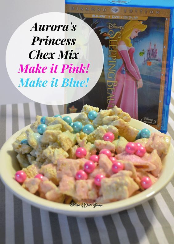 Aurora's Princess Chex Mix | Make it Pink! Make it Blue! A perfect snack for a Sleeping Beauty Movie Night or party. Would also be great for a gender reveal  The Ultimate Pinterest Party, Week 108