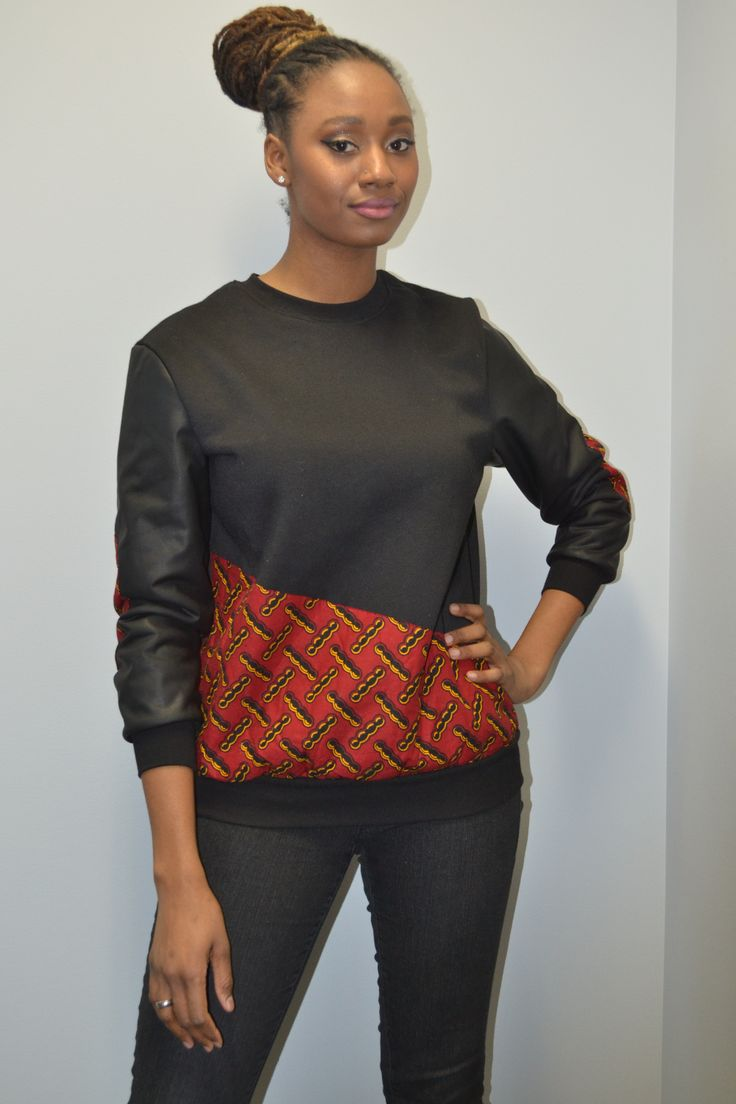 Black crewneck with leather sleeves and print. Latest African fashion, Ankara, kitenge, African women dresses, African prints, African men's fashion, Nigerian style, Ghanaian fashion, ankara sweatshirts, ankara hoodies, outfit of the day